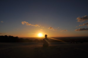 Sonnenuntergang am Sandblow, Rainbow Beach